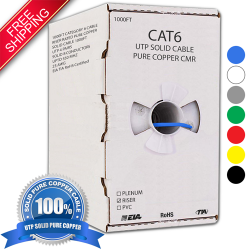 Cat6 Plenum CMP Solid 1000ft UTP Networking Cable